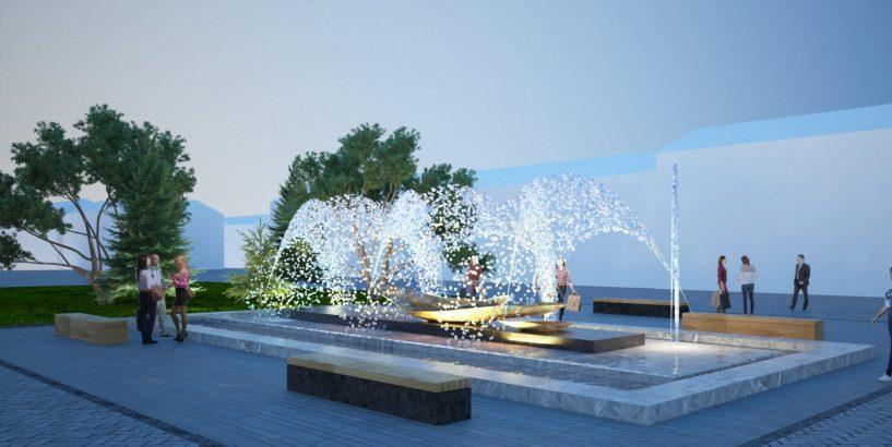 новий фонтан біля універмагу «Коломия»