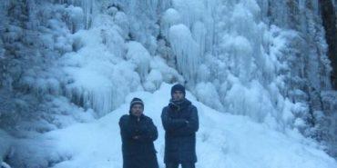 Морози перетворили Манявський водоспад на вражаючу скульптуру з льоду