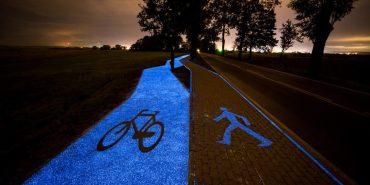 """У Польщі створили """"сонячну"""" велодоріжку, яка світиться у темряві. ФОТО"""