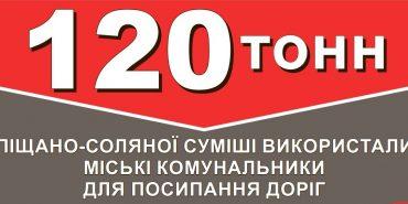 Для ліквідації негоди у Коломиї були задіяні 58 комунальників, а для посипання доріг використали 120 тонн суміші