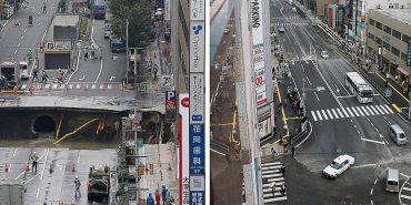 В Японії дорожні служби за дві доби полагодили величезний провал дороги