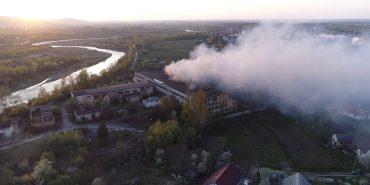 Опублікували відео пожежі на паперовій фабриці у Коломиї з висоти пташиного польоту