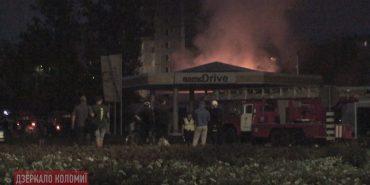 Опубліковано відео пожежі на території автозаправки у Коломиї