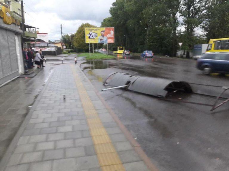 Повалені дерева і потрощені зупинки: на Західній Україні лютує негода. ФОТО