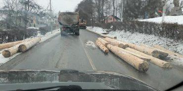На Косівщині з лісовоза на дорогу попадали колоди. ФОТО