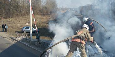 На Франківщині під час руху спалахнув вантажний потяг. ФОТО