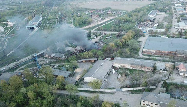 Відео. Що горить біля вокзалу Коломиї: кадри з квадрокоптера